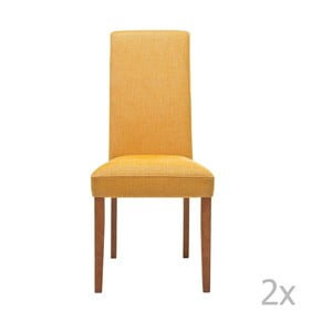 Sada 2 žltých jedálenských stoličiek s podnožou z bukového dreva Kare Design Rhytm