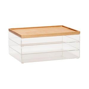 Sada 3 priehľadných úložných boxov s vrchnákmi z dubového dreva Hübsch Eluf