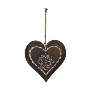 Závesná drevená dekorácia Antic Line Winter Time Heart Small