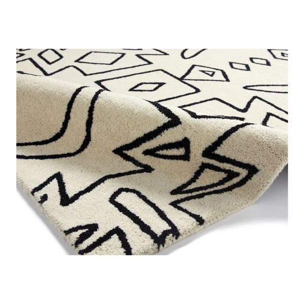 Vlnený koberec Spectrum White Black, 120x170 cm