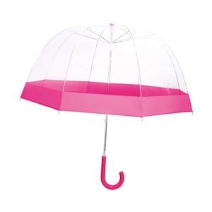 Transparentní Detský dáždnik s ružovými detailmi