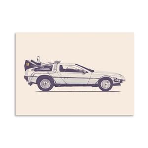 Plagát Delorean - Back To The Future od Florenta Bodart, 30x42 cm