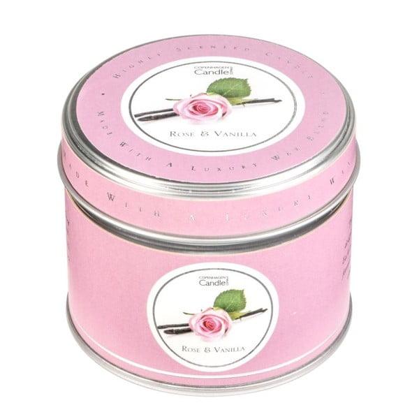 Aromatická sviečka v plechovke Copenhagen Candles Rose & Vanilla, doba horenia 32 hodín