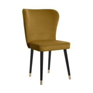 Horčicová jedálenská stolička s detailmi v zlatej farbe JohnsonStyle Odette French Velvet
