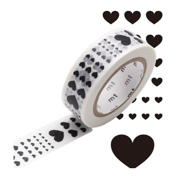 Čierno-biela washi páska MT Masking Tape Heart