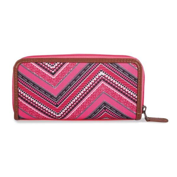 Ružovo-biela peňaženka Lois, 18 x 9 cm