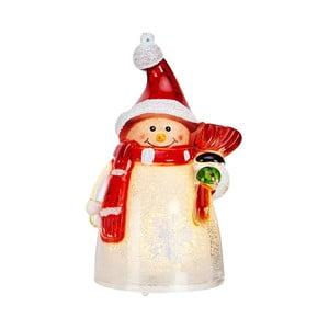 Červeno-biela sveteľná LED dekorácia Markslöjd Sigge Snowman, výška 10 cm