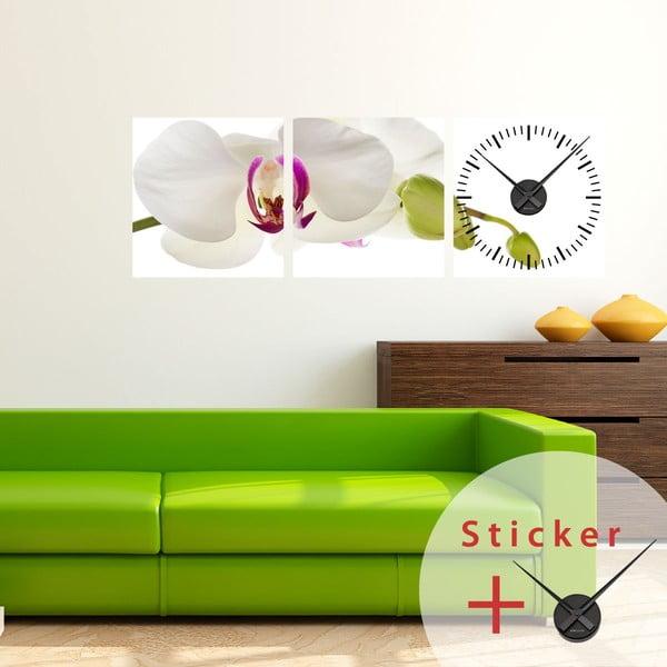 Samolepiace hodiny Orchid, 40x120 cm