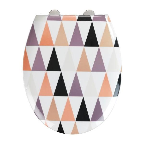 WC sedadlo s jednoduchým zatváraním Wenko Easy Pyramide, 44,5 × 37 cm