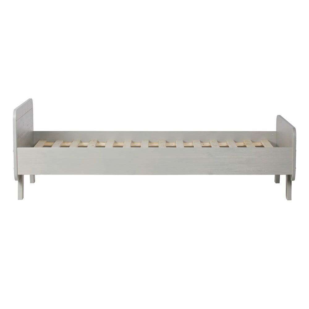 Sivá posteľ z masívneho borovicového dreva WOOOD Sammie, 95 × 205 cm