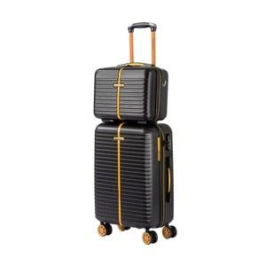 Set čierneho kozmetického kufríka a kufra na kolieskach Travel World