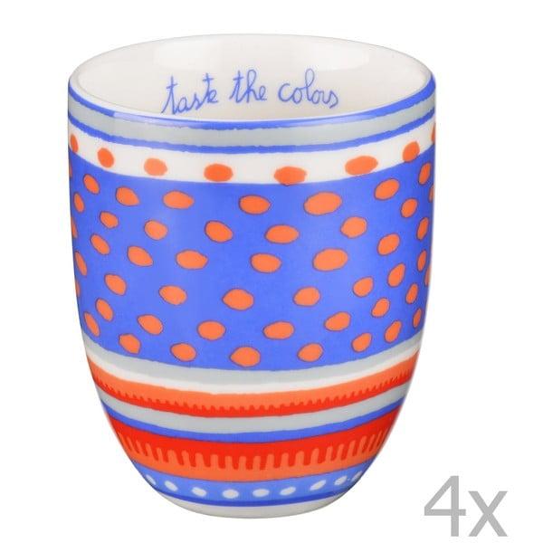 Sada 4 porcelánových šálok s bodkami Oilily 200 ml, modrá