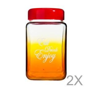 Oranžovo-červená sklenená fľaša s viečkom Mezzo Square Pintoro, 1 l