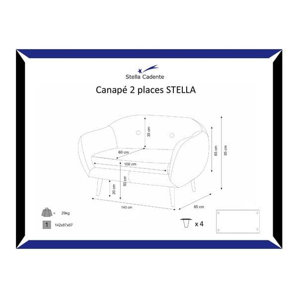 Tmavosivá dvojmiestna pohovka Stella