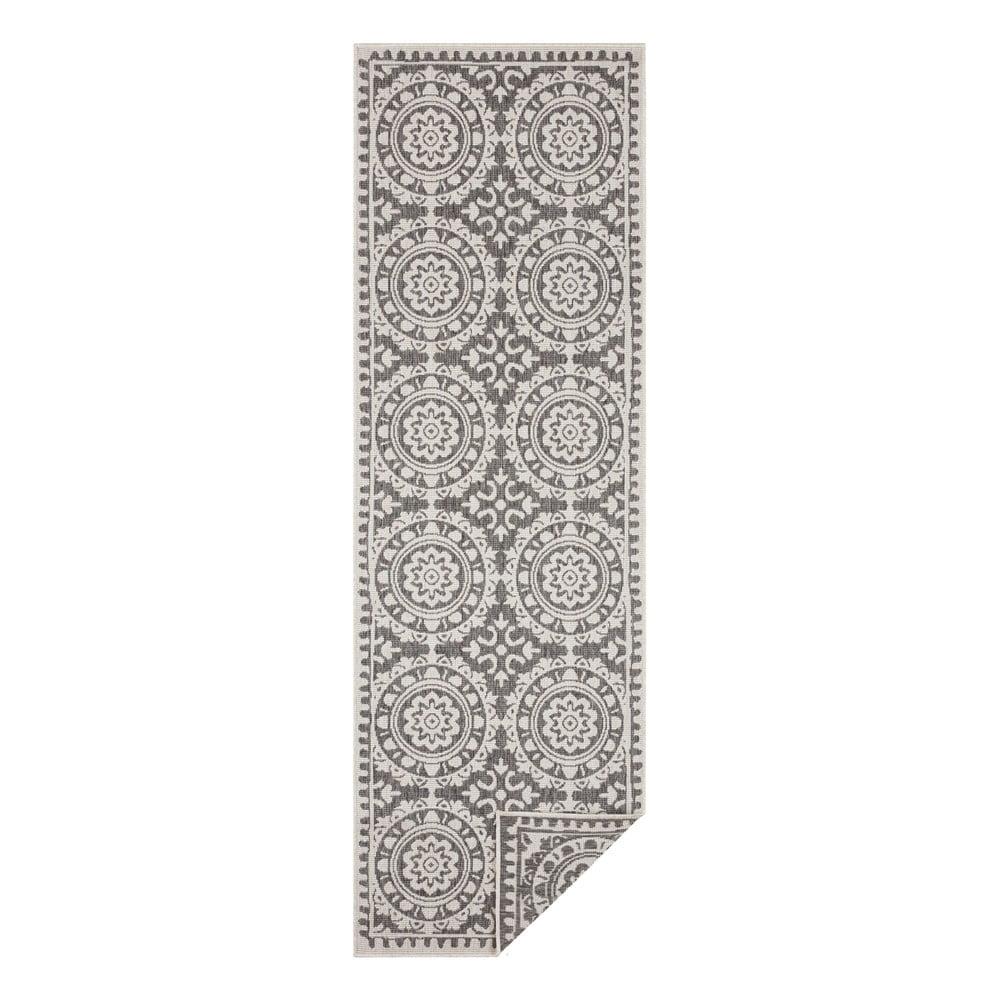 Sivo-krémový vonkajší koberec Bougari Jardin, 80 x 350 cm
