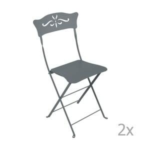 Sada 2 sivých skladacích záhradných stoličiek Fermob Bagatelle