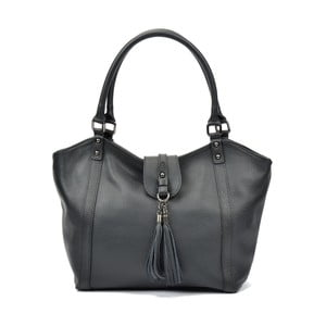 Čierna kožená kabelka Carla Ferreri Roberta