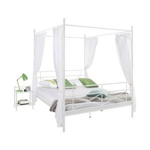 Biela kovová posteľ Støraa Tanja Canopy, 140 × 200 cm