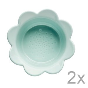 Sada 2 misiek Sagaform Piccadilly Kvetinky, 13x6,5 cm, tyrkysová