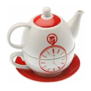 Hrnček s kanvičkou a tanierikom Red Clock