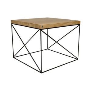 Čierny konferenčný stolík s doskou z dubového dreva Take Me HOME Hamburg, 53×53cm