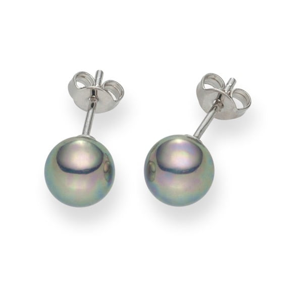 Striebornosivé perlové náušnice Pearls Of London Mystic