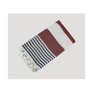 Červeno-modro-biela ručne tkaná osuška z prémiovej bavlny Homemania Turkish Hammam, 90×180cm