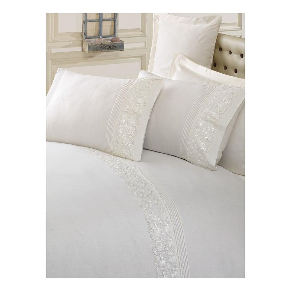 Krémové bavlnené obliečky s plachtou na dvojlôžko Sincero, 200 × 220 cm