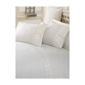 Krémové bavlnené obliečky s plachtou na dvojlôžko Sincero, 200 x 220 cm