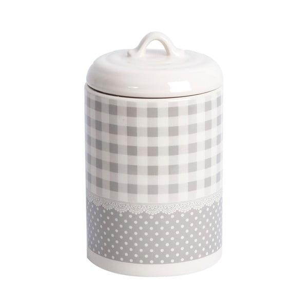 Keramická dóza Grey Dots&Checks, 17 cm