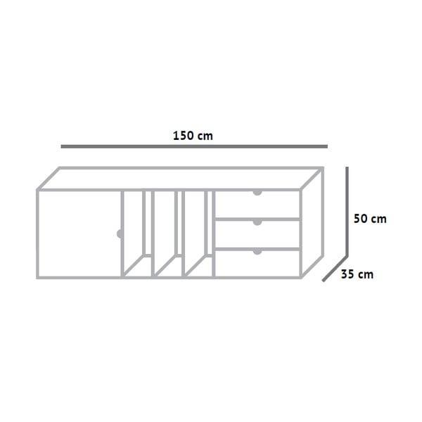 Skrinka s policami a zásuvkami Fam Fara, dĺžka 150 cm