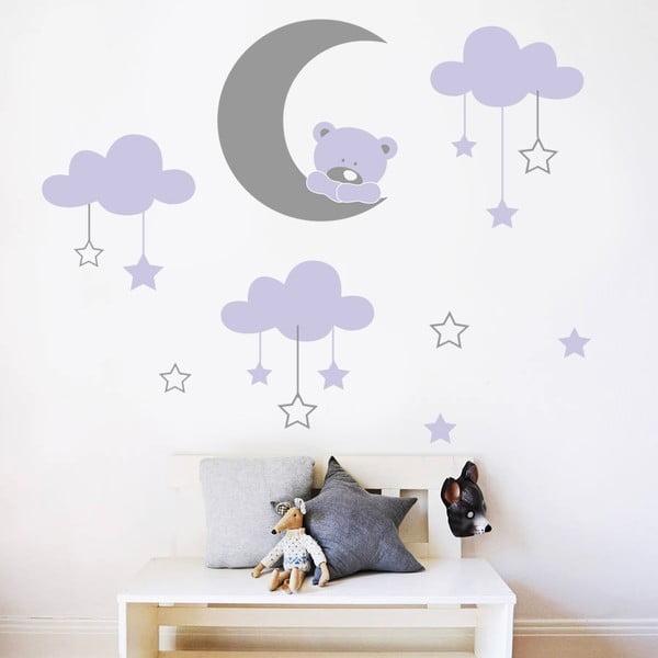 Samolepka na stenu Medvedík na mesiačiku, 70x50 cm