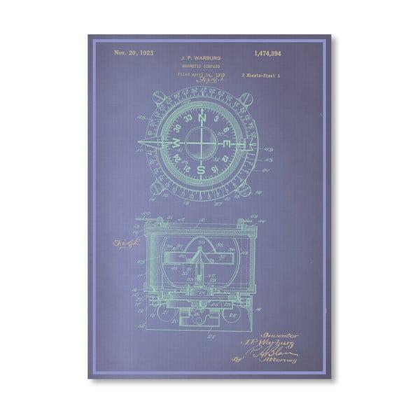 Plagát Magnetic Compass, 30x42 cm