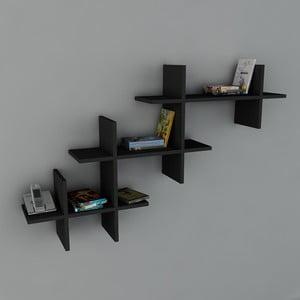 Polica Valentino Book Black, 22x140x84 cm