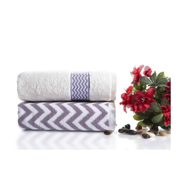 Sada 2 bavlnených fialovo-bielych uterákov Ladik Ella, 50 x 90 cm