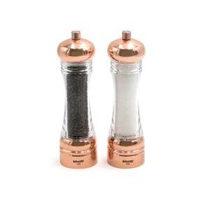 Sada 2 mlynčekov na soľ a čierne korenie v medenej farbe Bisetti Spice It Up