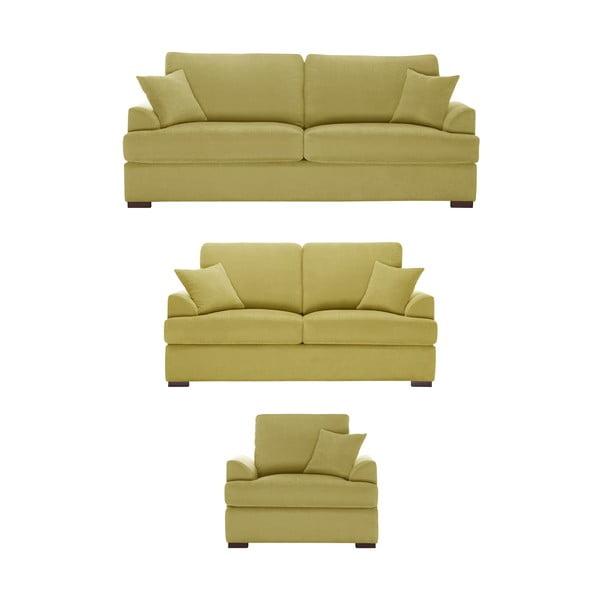 Žltá trojdielna sedacia súprava Jalouse Maison Irina
