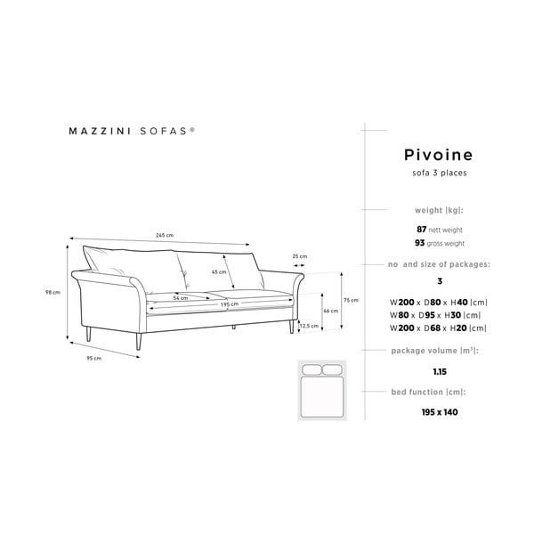Béžová rozkladacia trojmiestna pohovka s úložným priestorom Mazzini Sofas Pivoine