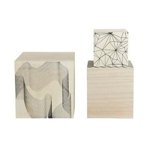 Sada 3 drevených boxov Graphic