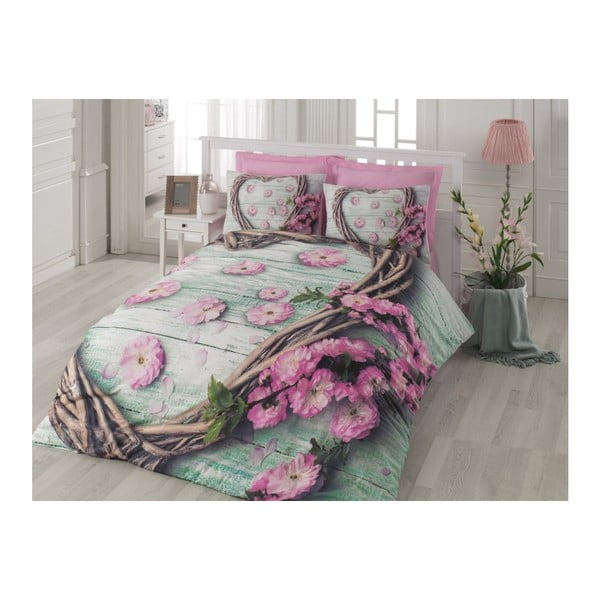 Bavlnené obliečky s plachtou Love, 200 x 220 cm