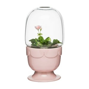 Svetloružový kvetináč s poklopom Sagaform Greenhouse
