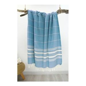 Tyrkysová osuška z čistej bavlny Hammam Yenge Style, 90 x 180 cm