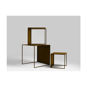 Sada 3 odkladacích stolíkov v zlatej farbe Custom Form 2Wall