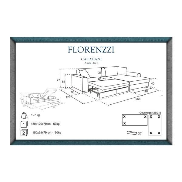 Béžová rozkladacia pohovka Florenzzi Catalani s leňoškou na pravej strane
