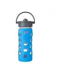 Sklenená fľaša na vodu so silikónovou slamkou a chráničom Lifefactory Ocean, 350 ml
