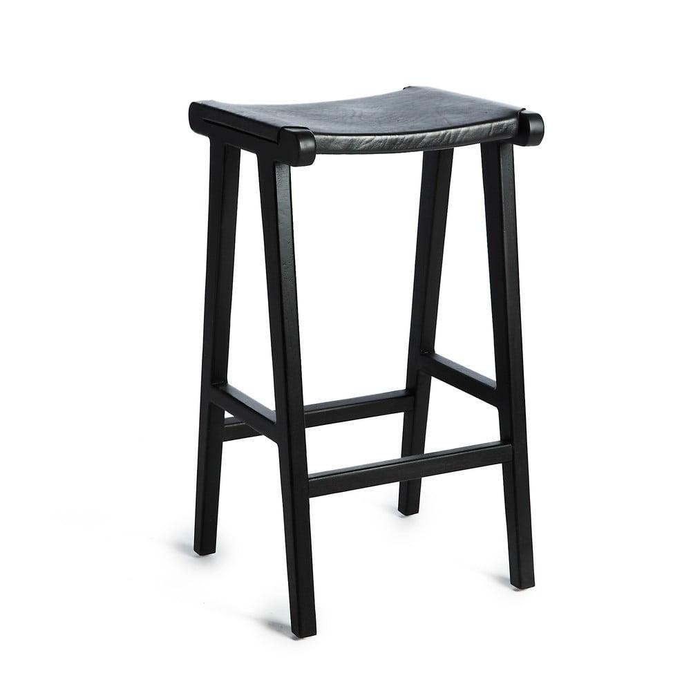 Čierna barová stolička s konštrukciou z teakového dreva a sedadlom z hovädzej kože Simla Bar