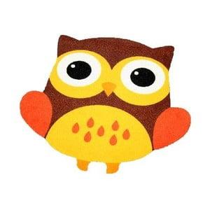 Koberec Owls - hnedo-žltá sova, 66x66 cm