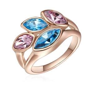 Prsteň vo farbe ružového zlata s krištáľmi Swarovski Saint Francis Crystals Summer Leaf, veľ. 60