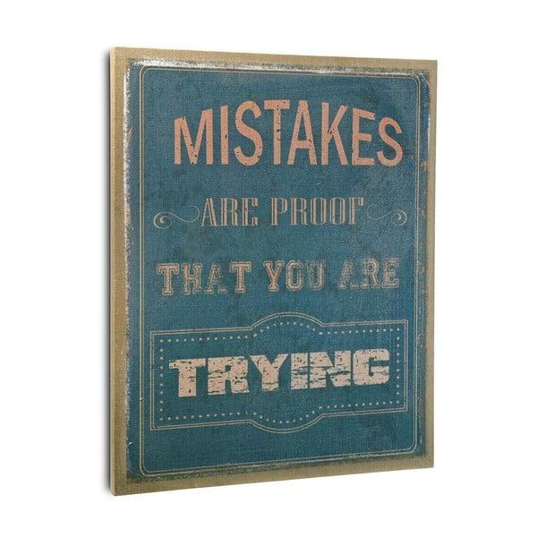 Drevený obraz Mistakes Blue