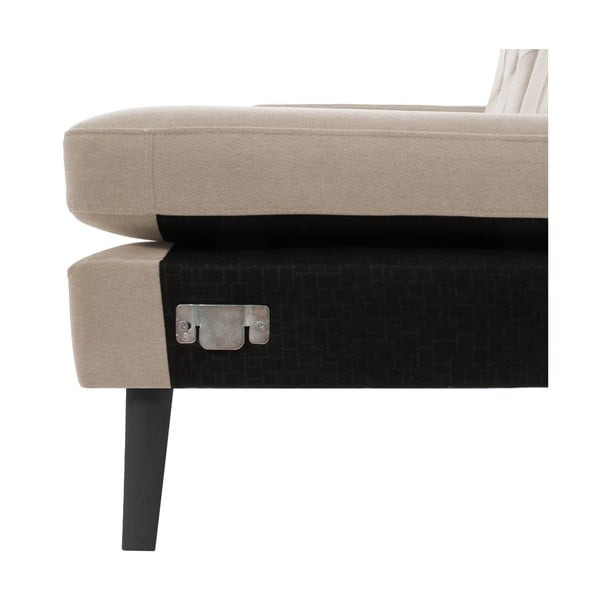 Béžová pohovka s leňoškou na pravej strane VIVONITA Sondero, čierne nohy